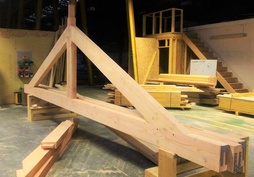 The finished truss assembled to ensure it all fits together before it is transported to the Sylva Foundation site.