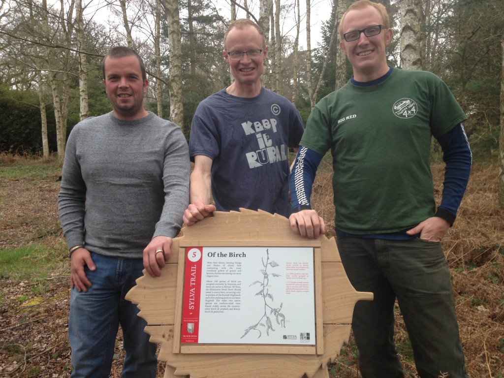 Setting up the Sylva Trail at Harcourt Arboretum