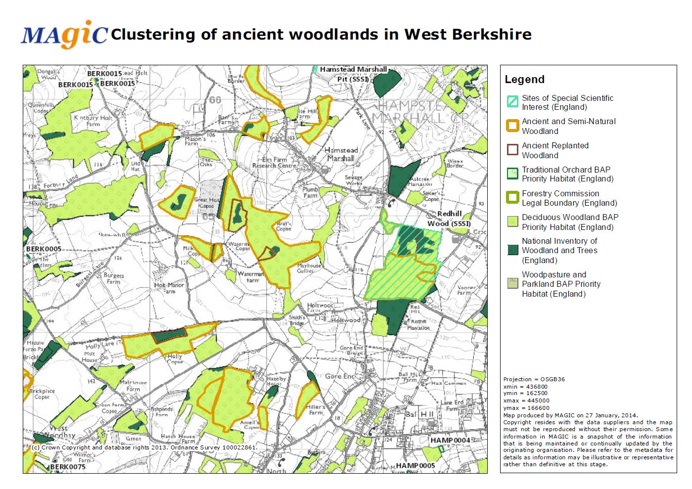 Ancient woodland clusters in West Berkshire