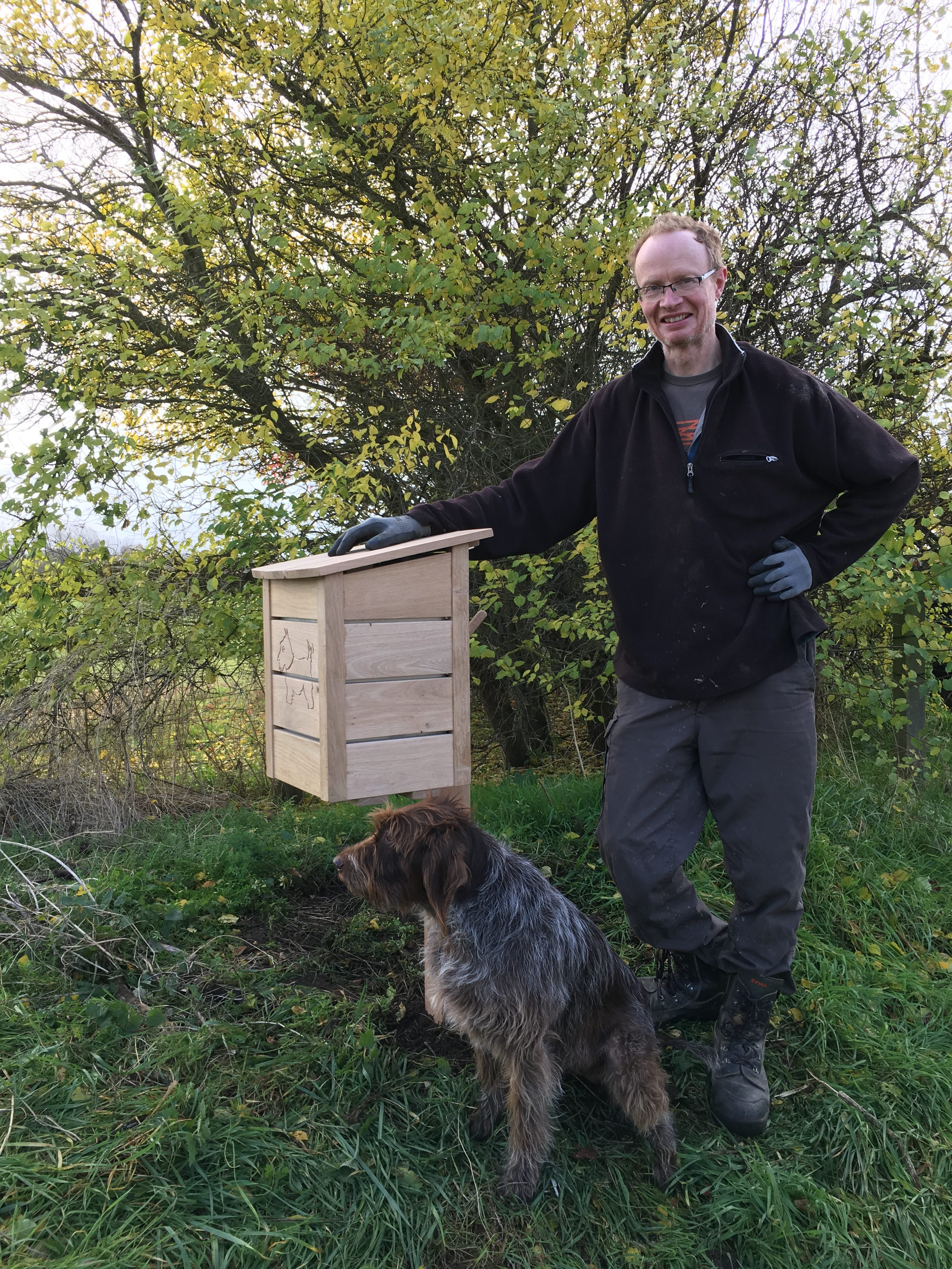A superior dog poo bin, made by Rodas Irving (pictured) of Oxford Oak