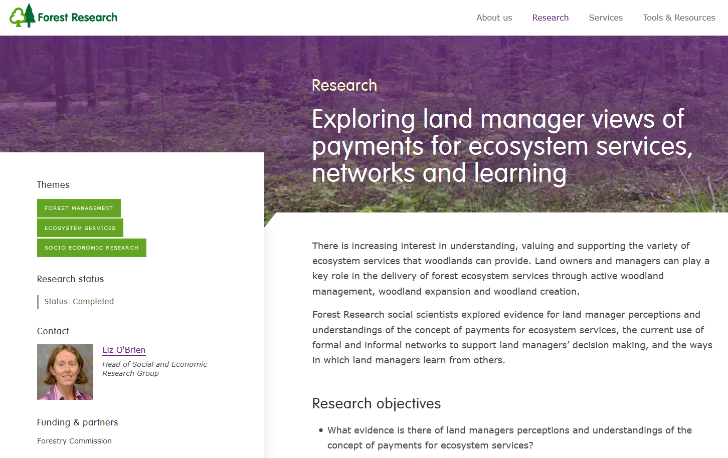 Exploring land manager views of payments for ecosystem services, networks and learning