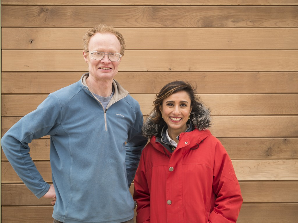 BBC Countryfile presenter Anita Rani with Rodas Irving of Oxford Oak, outside the Sylva Wood Centre with the new thermally-modified sycamore cladding. Photo Gabriel Hemery.