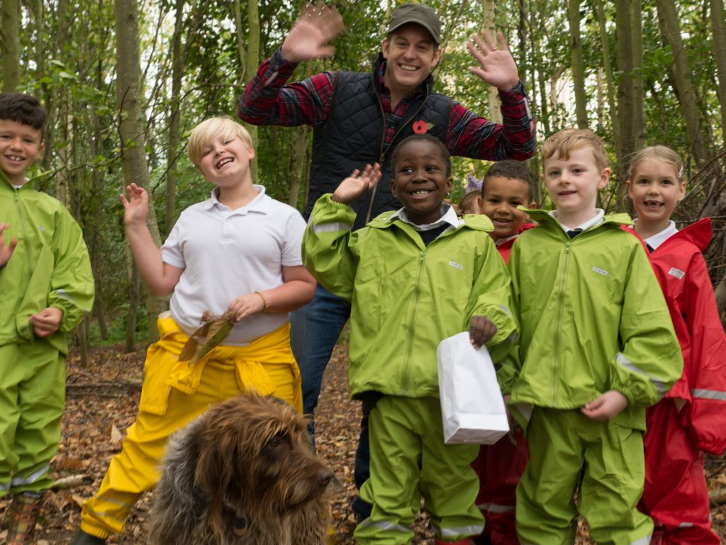 Willowcroft Community School children with Matt Baker for BBC Countryfile