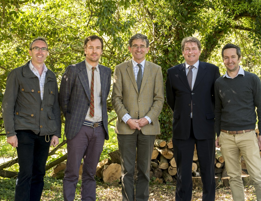 Left to right: Gabriel Hemery (Sylva), Alistair Yeomans (Sylva), Simon Lloyd (RFS), Mike Bentley (Small Woods) and Paul Orsi (Sylva) celebrate the formation of the partnership.