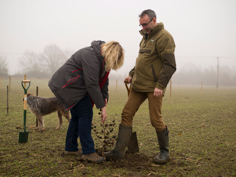 Beccy Speight and Gabriel Hemery plant the first tree in the Future Forest