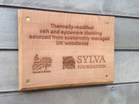 Plaque for thermally-modified timber at Sylva Wood Centre