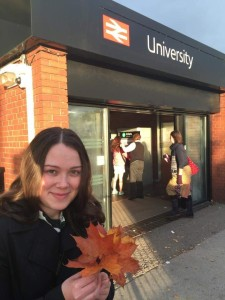 University of Birmingham PhD student Jennifer Kirby looking at the autumn leaf fall problem around the UK rail network.