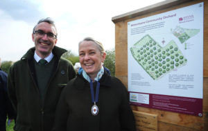 High Sheriff Sarah Taylor and Sylva Foundation Gabriel Hemery at the opening of the Wittenhams Community Orchard at the Sylva Wood Centre, 23 March 2017