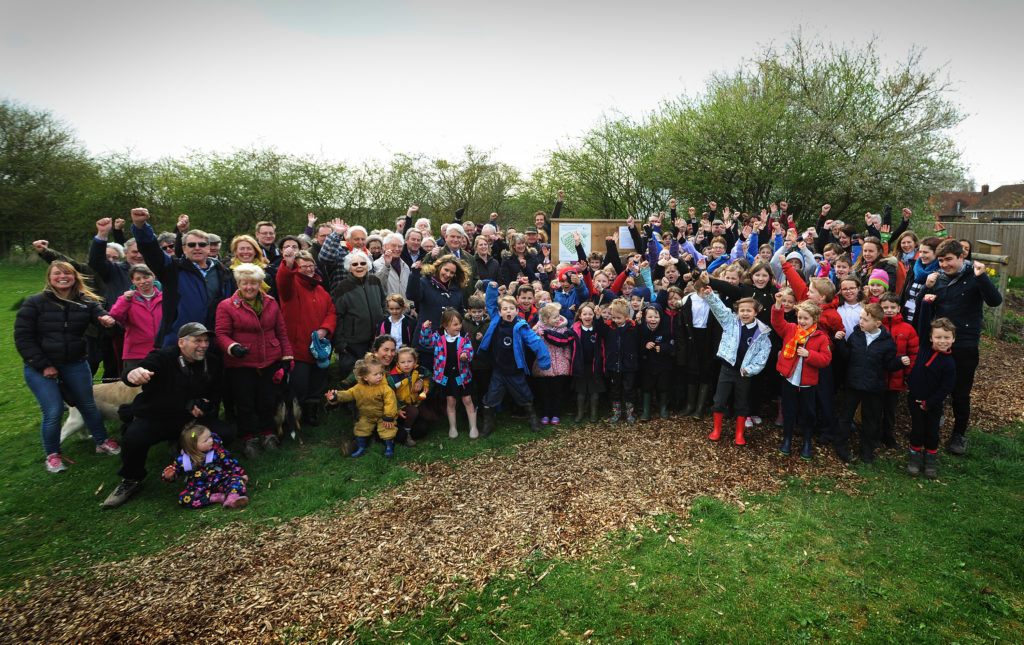 Opening of the Wittenhams Community Orchard at the Sylva Wood Centre, 23 March 2017. Photo Jon Lewis, Oxford Mail.