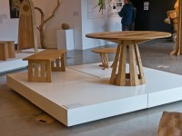OneOak tables: Pedestal Table and Coffee Table by Phil Koomen, small table by Jody Koomen
