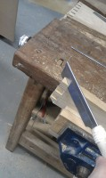 cutting the mitres on the dovetail joints