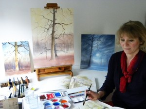Rebecca Hind working on a watercolour in our OneOak project