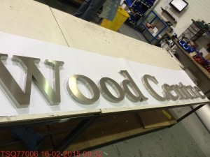 The lettering for the Sylva Wood Centre entrance sign