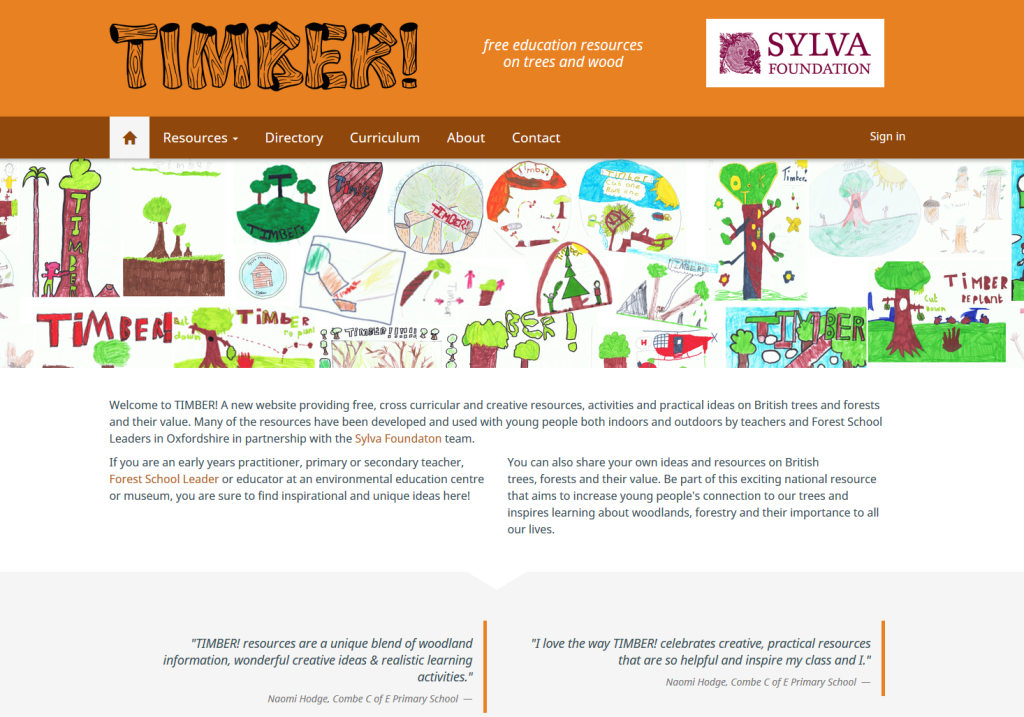 Homepage of the new Timber! website