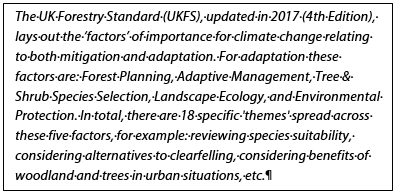 UKFS and climate change adaptation