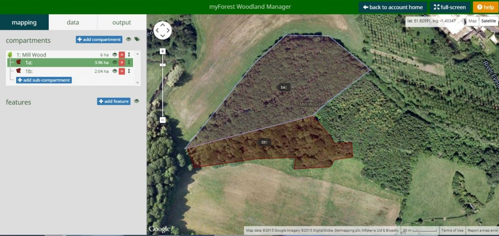 Screen shot of the new Woodland Manager mapping component of myForest v3.0