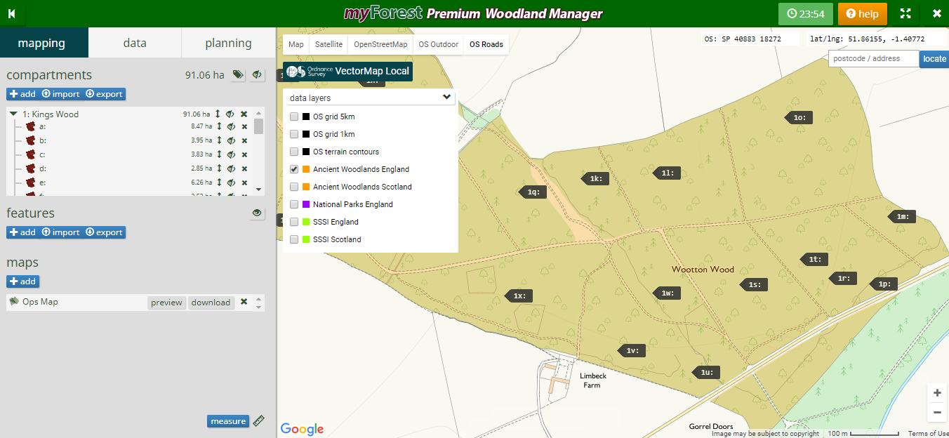 With a myForest premium account you can now view data layers such as ancient woodland