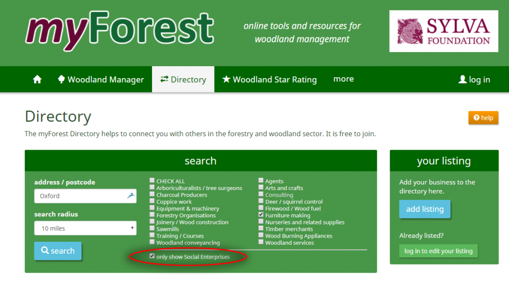 myForest directory screen shot
