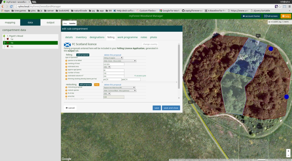 Screenshot of the new Felling Licence functionality in myForest for woodland owners and managers in Scotland