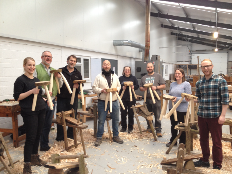 Green stool making course at Sylva Wood Centre