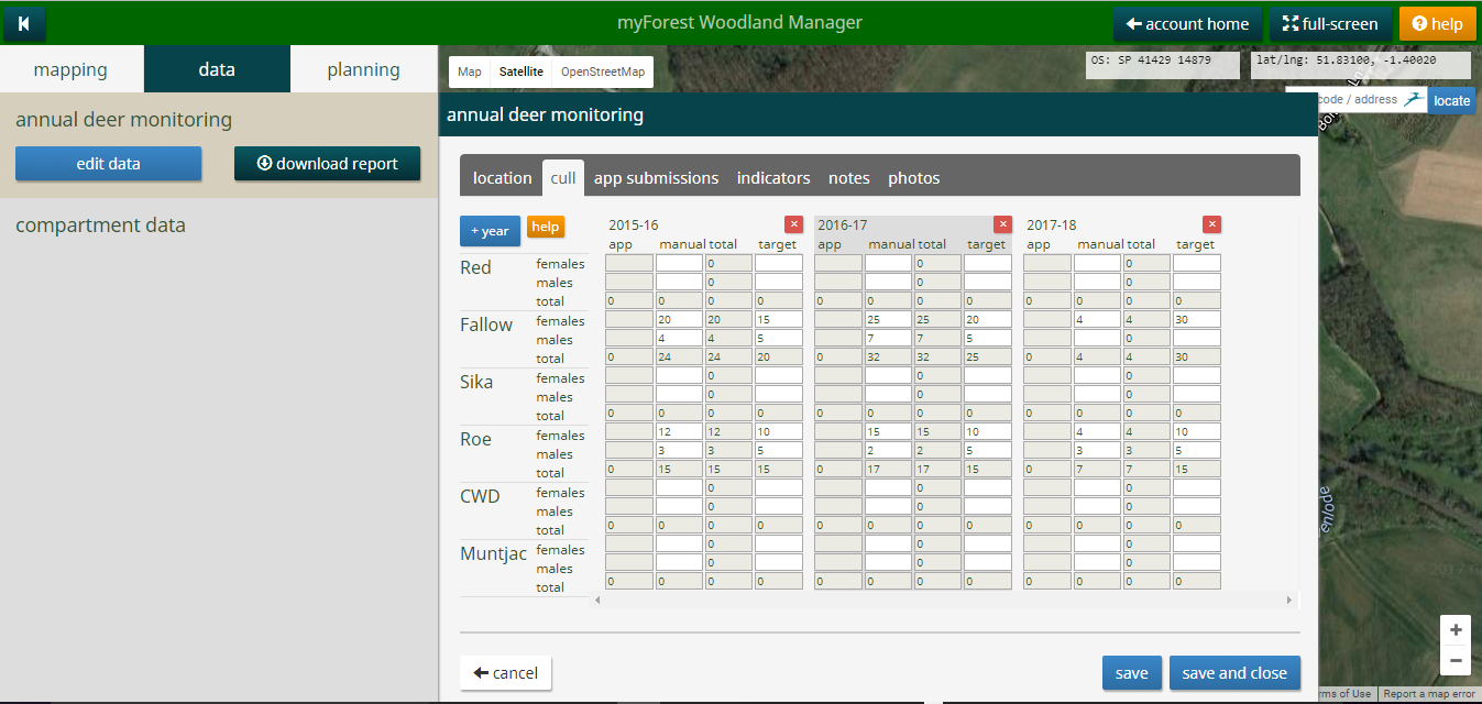 myForest deer management screenshot