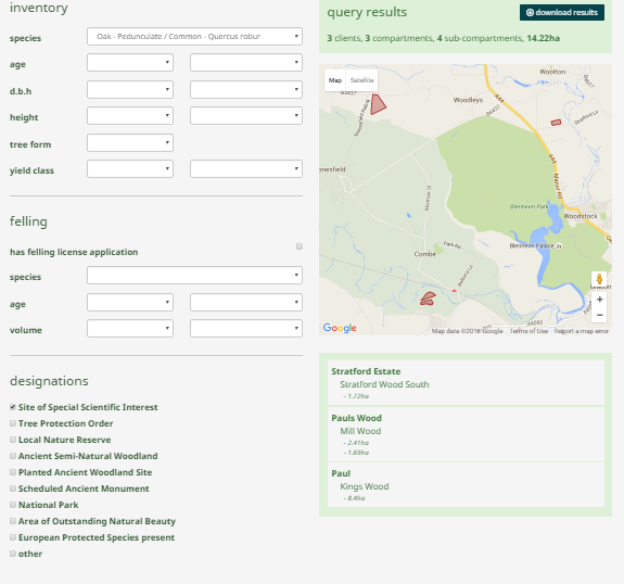 myForest query tool screen